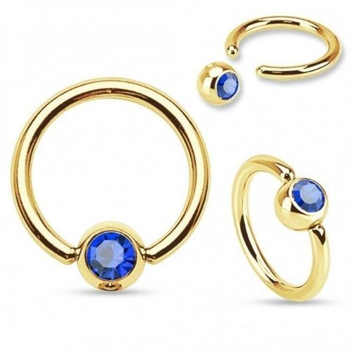 Gold Plated Ball Closure Ring with Blue Gem Ball